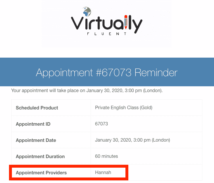 Appointment reminder email screenshot