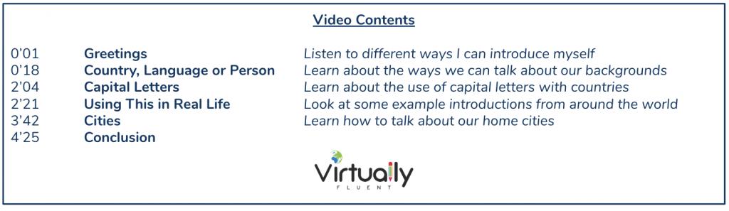 Nationalities grammar video contents
