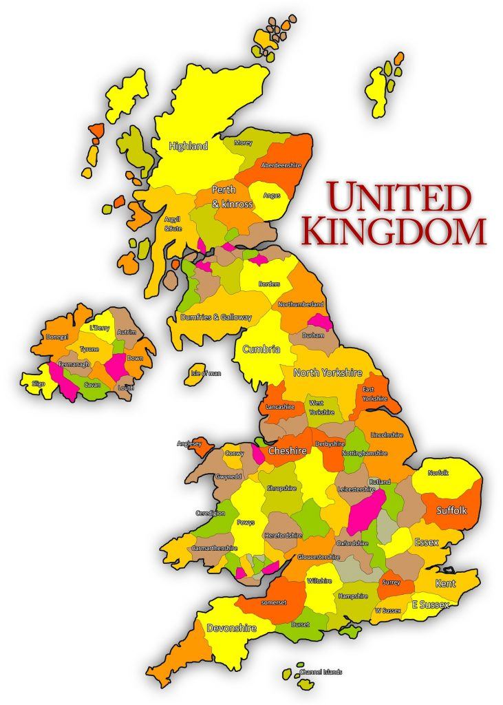 UK Map by Counties