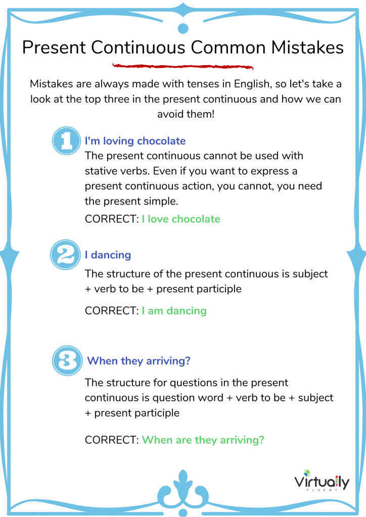 Present Continuous Common Mistakes