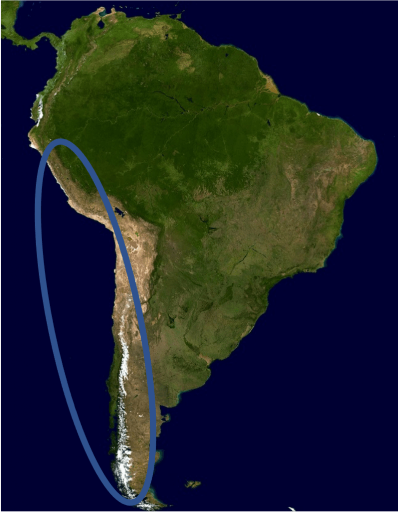 Map of Chile and Peru
